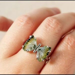Jewelry - Blue/green Natural Tourmaline Butterfly 925 Ring